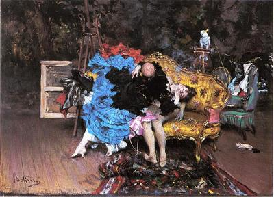 Boldini Giovanni The Model and the Mannequin aka Berthe in the Studio