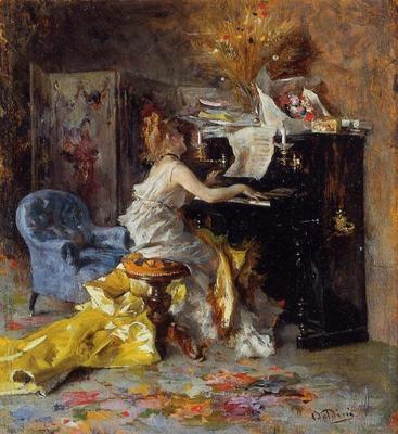Boldini Giovanni Woman at a Piano