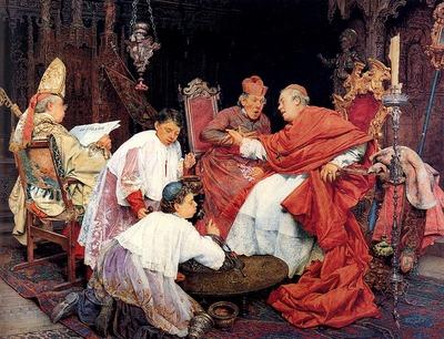 Signorini Giuseppe Cardinals In An Interior