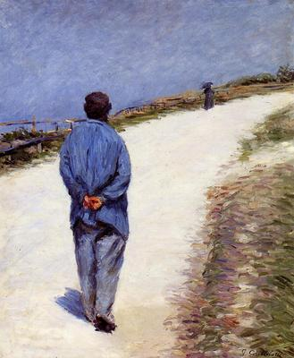 Caillebotte Gustave Man in a Smock aka Father Magloire on the Road between Saint Clair and Etretat