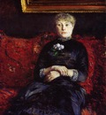 Caillebotte Gustave Woman Sitting on a Red Flowered Sofa