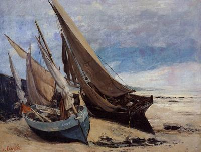 Courbet Gustave Fishing Boats on the Deauville Beach