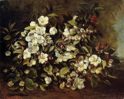 Courbet Gustave Flowering Apple Tree Branch