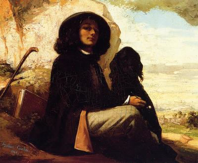 Courbet Gustave Self Portrait with a Black Dog