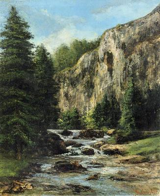 Courbet Gustave Study for Landscape with Waterfall
