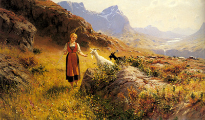 Dahl Hans An Alpine Landscape With A Shepherdess And Goals