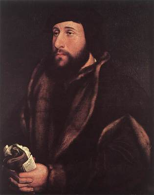 Holbien the Younger Portrait of a Man Holding Gloves and Letter