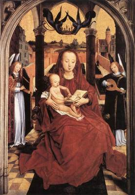 Memling Hans Virgin and Child Enthroned with two Musical Angels