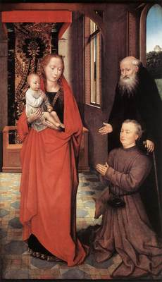 memling hans virgin and child with st anthony the abbot and a donor