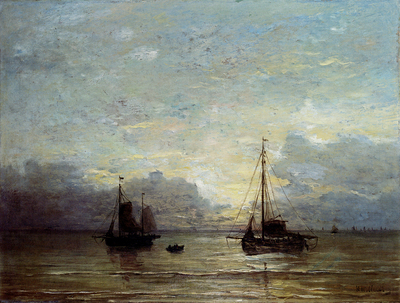 Mesdag Hendrik Willem Fishing Boats Near The Coast