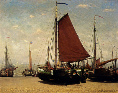 Mesdag Hendrik Willem The Bomschuit Prinses Sophie On The Beach Scheveningen