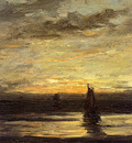 Mesdag Hendrik Willem Fishing Boats At Dusk