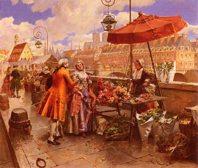 Lesur Henri Victor The Flowers Seller Along The Seine