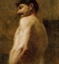 Toulouse Lautrec Henri de Bust of a Nude Man