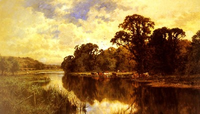 Parker Henry Hillier Cattle watering On A Riverbank