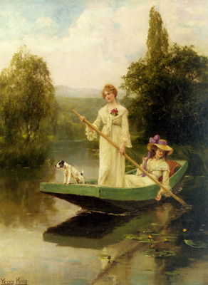 King Henry John Yeend Two Ladies Punting On The River