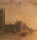 Pether Henry Westminster Abbey The Houses Of Parliament With The Construction Of Westminister Bridge