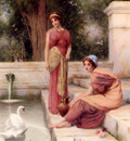 Ryland Henry Two Classical Maidens And A Swan