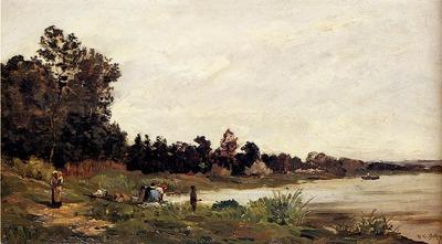 Delpy Hippolyte Camille Washerwomen In A River Landscape