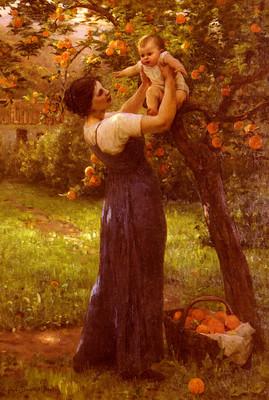 Demont Breton Virginie Mere Et Enfant Dans Le Jardin