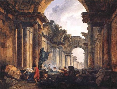 ROBERT Hubert Imaginary View Of The Grande Galerie In The Louvre In Ruins