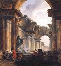 ROBERT Hubert Imaginary View Of The Grande Galerie In The Louvre In Ruins