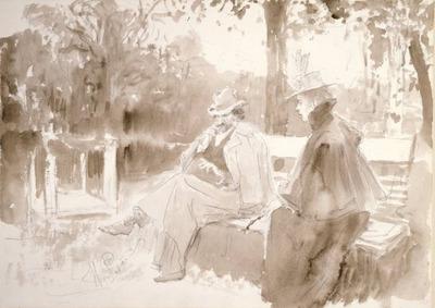 Repin Ksenian ja Nedrovin tapaaminen puistossa Nevan saarilla