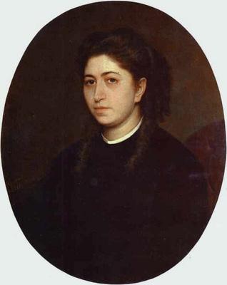 Kramskoi Portrait of a Young Woman Dressed in Black Velvet