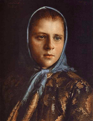 Kramskoi Russian Girl in a Blue Shawl