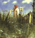 Kramskoi Girl with Washed Linen on the Yoke