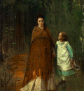 Kramskoi In the Park  Portrait of the Artist s Wife and Daughter