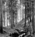 Shishkin Ivan Stream by a Forest Slope