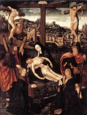CORNELISZ VAN OOSTSANEN Jacob Crucifixion With Donors And Saints