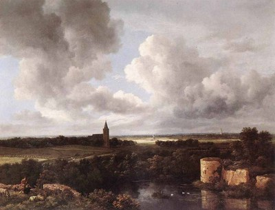 RUISDAEL Jacob Isaackszon van An Extensive Landscape With A Ruined Castle And A Village Church
