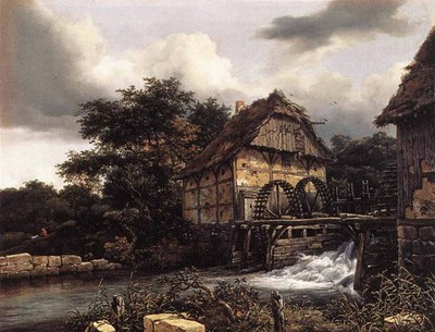 RUISDAEL Jacob Isaackszon van Two Water Mills And Open Sluice