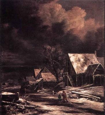 RUISDAEL Jacob Isaackszon van Village At Winter At Moonlight