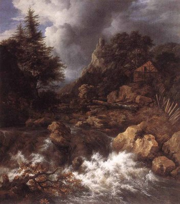 RUISDAEL Jacob Isaackszon van Waterfall In A Mountainous Northern Landscape