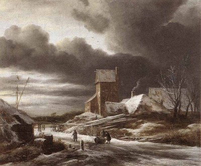 RUISDAEL Jacob Isaackszon van Winter Landscape