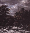 RUISDAEL Jacob Isaackszon van Waterfall By A Church