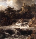 RUISDAEL Jacob Isaackszon van Waterfall With Castle Built On The Rock