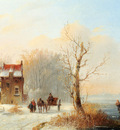 Stok Jacobus Van Der A Winter Landscape With Skaters On A Frozen Waterway And A Horse drawn Cart
