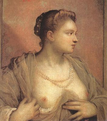 Tintoretto Portrait of a Woman Revealing her Breasts