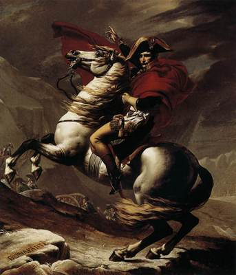 DAVID Jacques Louis Bonaparte Calm on a Fiery Steed Crossing the Alps