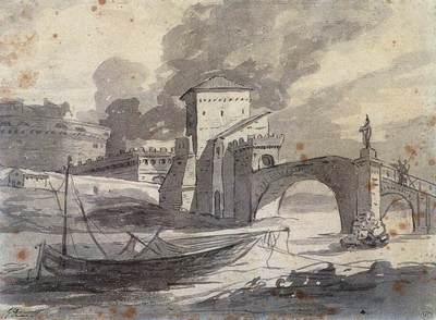 DAVID Jacques Louis View of the Tiber and Castel St Angelo