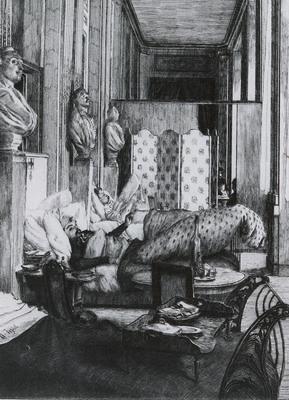 Tissot James Jaques Joseph Le Foyer de la Comedie Francaise pendant le Siege de Paris