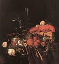 HEEM Jan Davidsz de Still Life With Fruit Flowers Glasses And Lobster