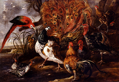 Fyt Jan A Peacock In A Landscape With Roosters Turkeys Ducks A Heron And A Parrot