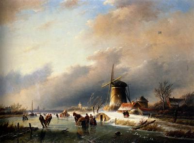 Jan Jacob Spohler Figures Skating on a Frozen River