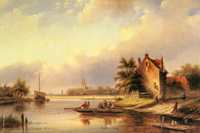 Spohler Jacob Jan Coenraad A Summers Day At The Ferry Crossing