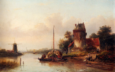 Spohler Jan Jacob A River Landscape In Summer With A Moored Haybarge By A Fortified Farmhouse